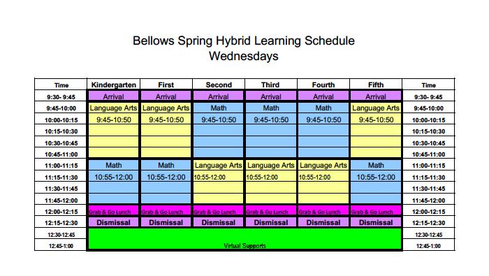 BSES Hybrid Wednesday Schedule