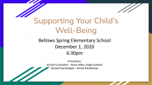 Supporting Your Child's Well-Being Cover Slide